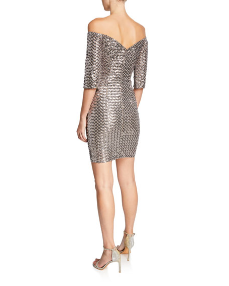 Jovani Sequin Off-the-Shoulder Elbow-Sleeve Fitted Mini Dress
