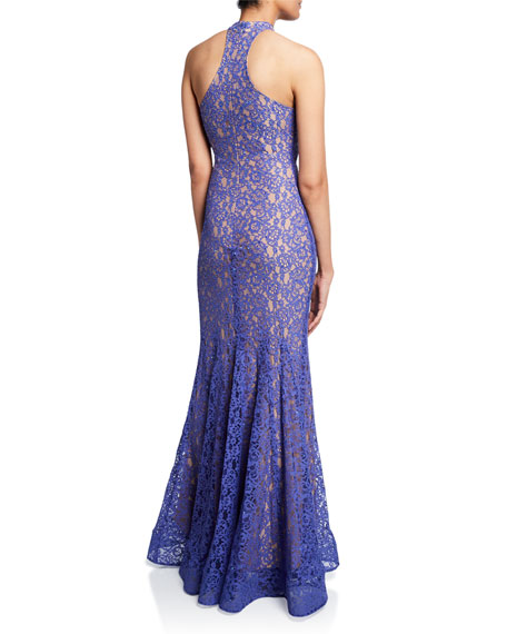 Jovani Sequin Halter-Neck Stretch Lace Mermaid Gown