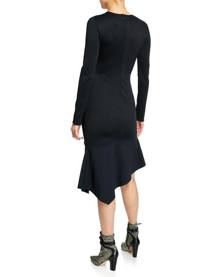 Black Halo Maddox Crewneck Long-Sleeve Crepe Dress w/ Asymmetric Hem