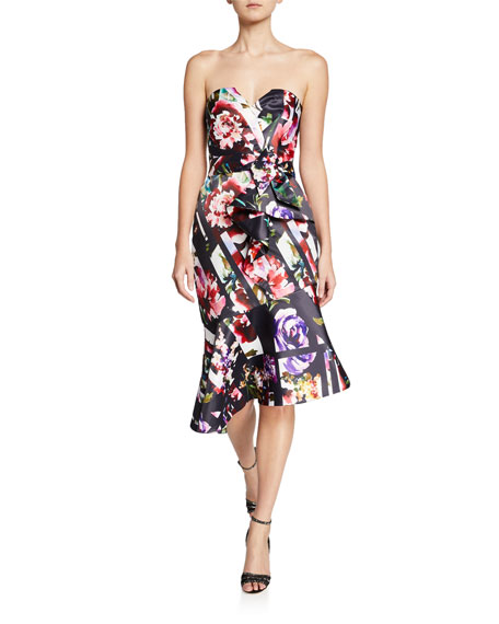 Parker Black Wendy Floral-Print Strapless Asymmetric Satin Dress