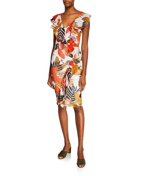 Fuzzi Leaf-Print Ruffle V-Neck Fitted Dress