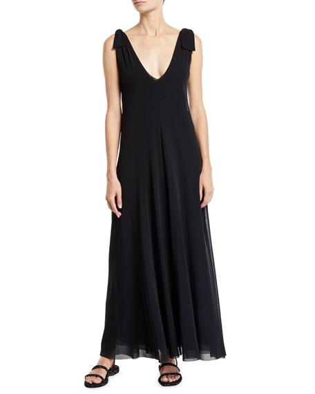 Fuzzi Solid Tie-Shoulder Sleeveless Double Maxi Dress