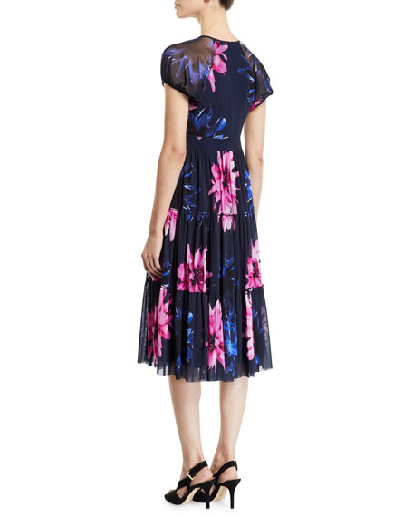 Fuzzi Fracture V-Neck Floral-Print Short-Sleeve Tiered Dress