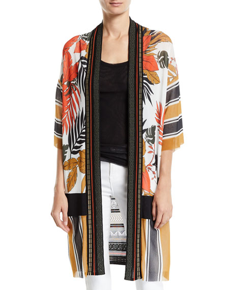 Fuzzi Patchwork Half-Sleeve Knit Back Kimono
