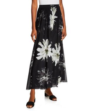 ba37d1cad Fuzzi Fracture Flower-Print Long A-Line Skirt