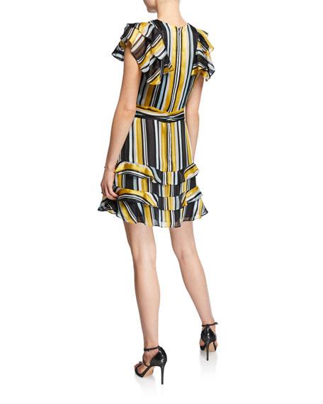 Parker Elijah Striped Chiffon Flutter-Sleeve Dress