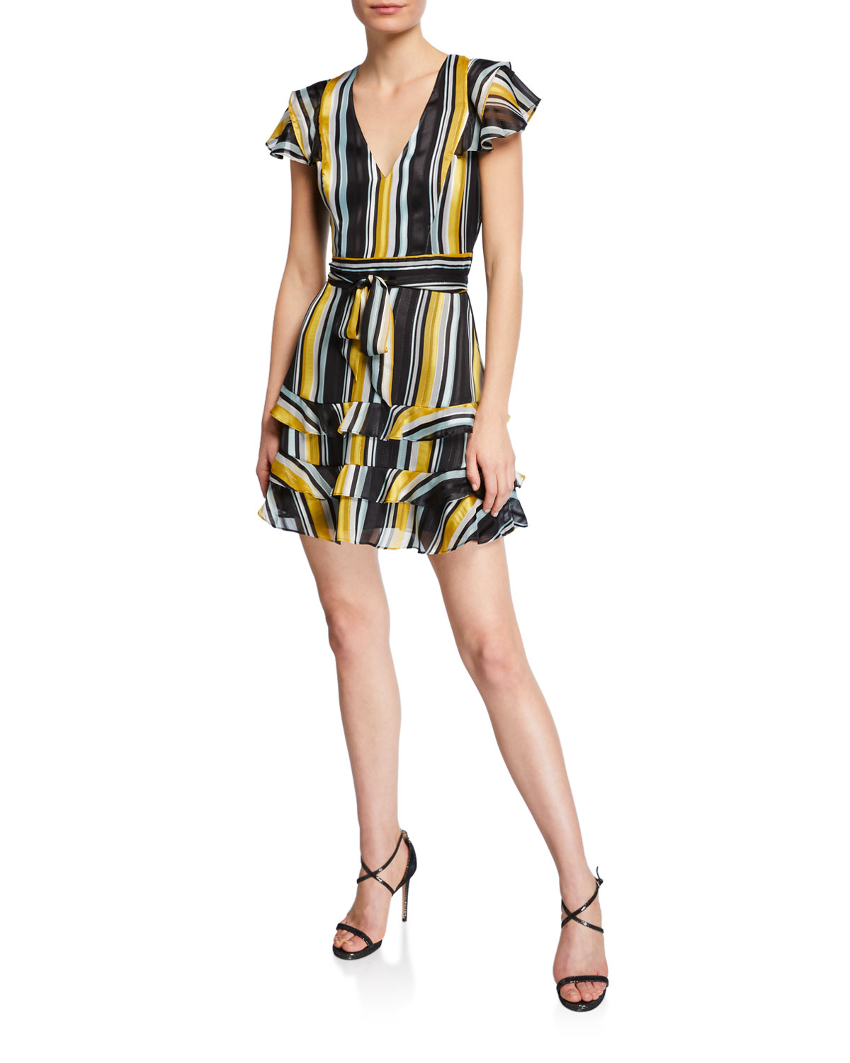 77ab3cc5307 Parker Elijah Striped Chiffon Flutter-Sleeve Dress