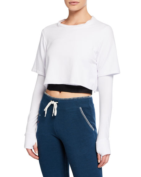 Monrow Double Layer Cropped Active Top