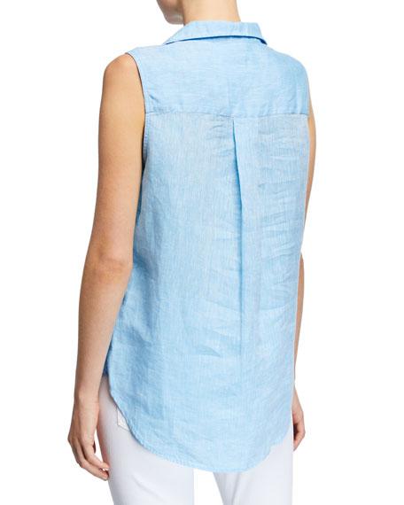 Frank & Eileen Sleeveless Button-Down Linen Shirt w/ Chest Pocket