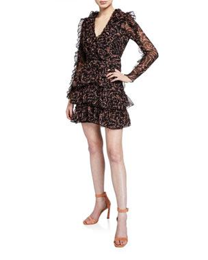 bb347d28 Bardot Alessia Floral Frill Mini Dress w/ Belt