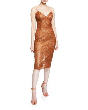 63b62482c Bardot Golden Lace Cocktail Dress
