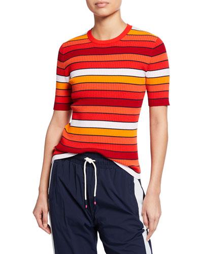 Tech Knit Striped Short-Sleeve Sweater