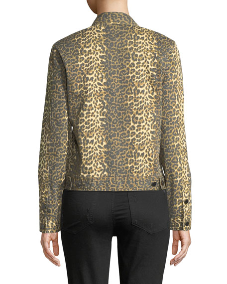 ATM Anthony Thomas Melillo Leopard-Print Button-Front Denim Jacket