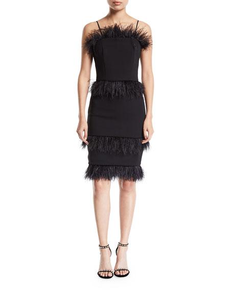 Elliatt Coco Strapless Crepe Cocktail Dress w/ Feather Trim