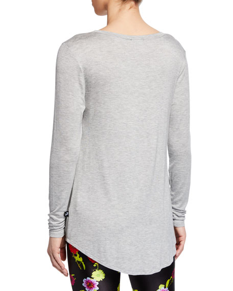 Image 2 of 2: Terez Twist-Front Long-Sleeve Active Top