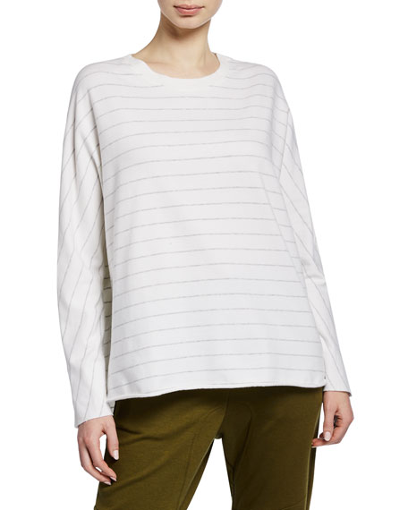 Frank & Eileen Tee Lab Striped Continuous-Sleeve Oversized Sweatshirt