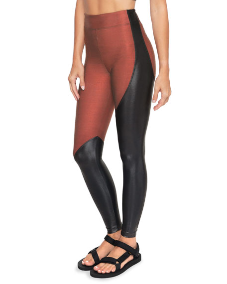Koral Toluca Shantung High-Rise Two-Tone Leggings