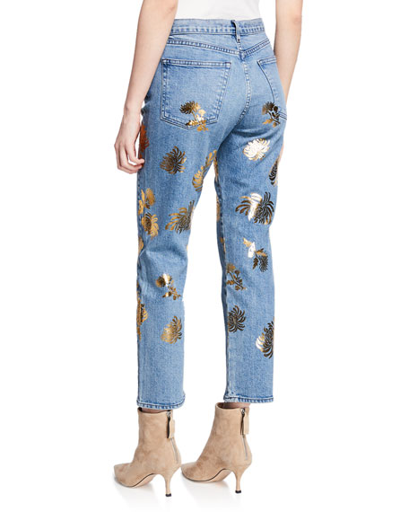 3x1 Higher Ground Cropped Straight Jeans with Floral Details