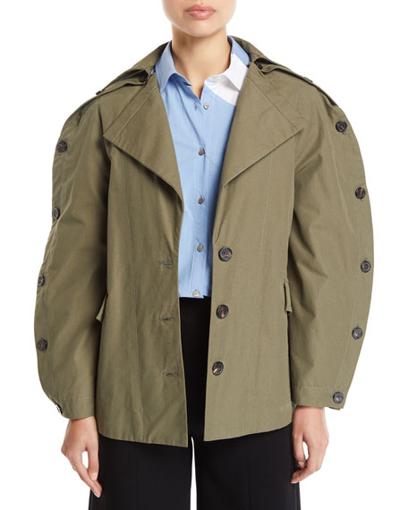 palmer//harding Ring Button-Sleeve Belted Cotton Jacket