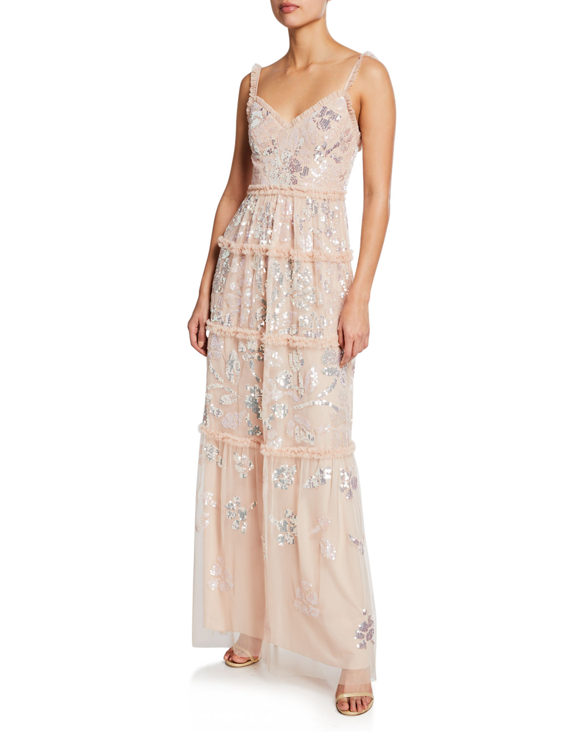0fd1b007 Needle & Thread Floral Gloss Sequined Tulle V-Neck Gown | Neiman Marcus
