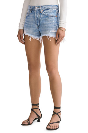 AGOLDE Parker Vintage Frayed-Hem Denim Shorts