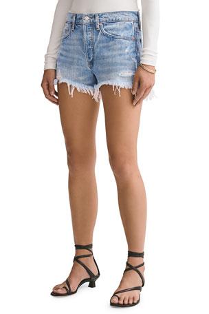 AGOLDE Parker Vintage Frayed-Hem Denim Shorts