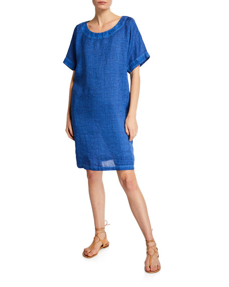 120% Lino Short-Sleeve Linen Dress w/ Pockets