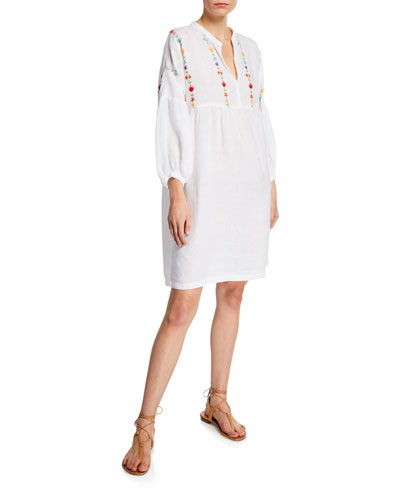 Floral-Embroidered 3/4-Sleeve Dress