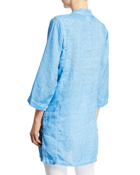 120% Lino Mandarin-Collar 3/4-Sleeve Paisley-Embroidered Linen Tunic