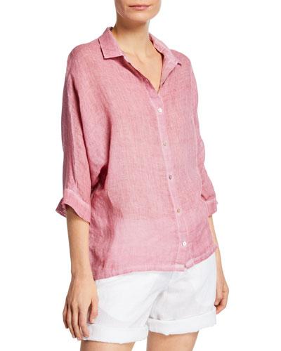 3/4-Sleeve Linen-Front Jersey Back Shirt