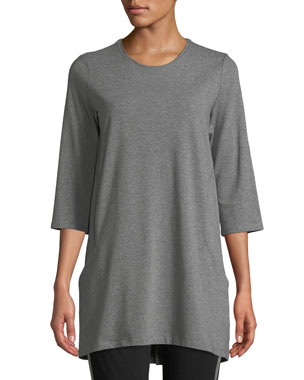 0af7a87c1b9 Eileen Fisher Half-Sleeve Jersey Tunic w/ Pockets