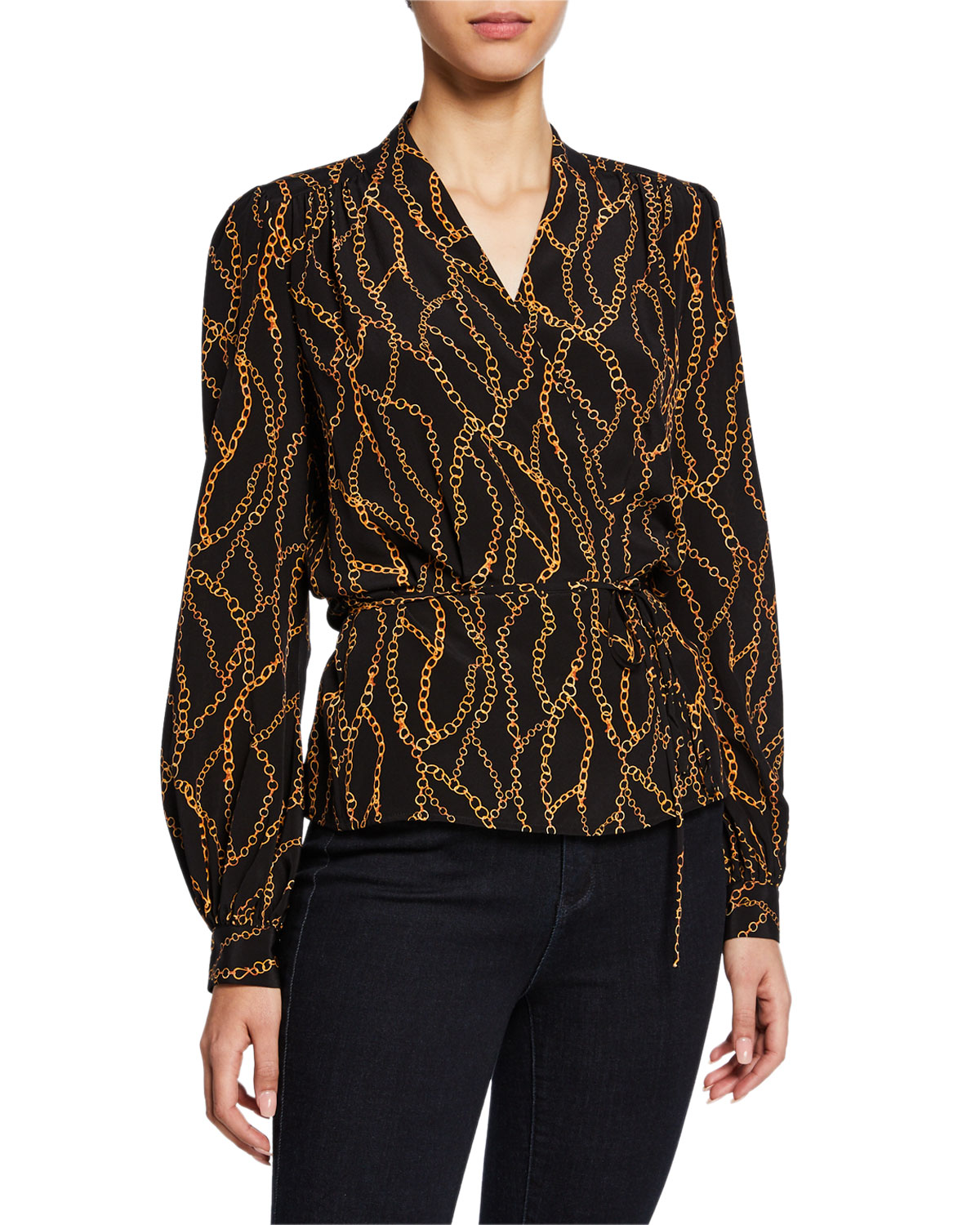 55010927091 Exact Product  Jennifer Lopez Black Patterned Print Shirt 2019