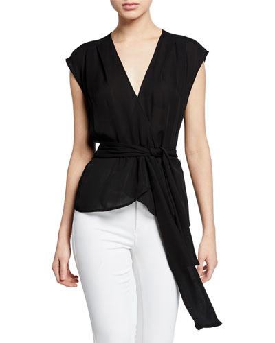 Clemence Shirred Tie-Waist Sleeveless Wrap Blouse
