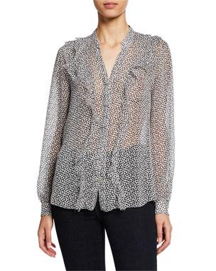 L Agence Nadine Semi-Sheer Long-Sleeve Ruffle Shirt 642344ff5e