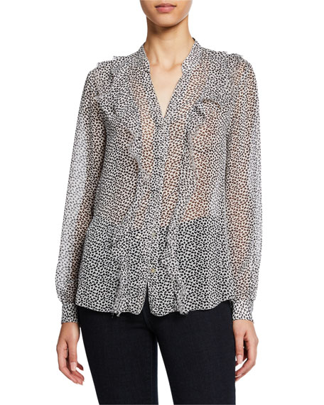 L'agence T-shirts Nadine Semi-Sheer Long-Sleeve Ruffle Shirt