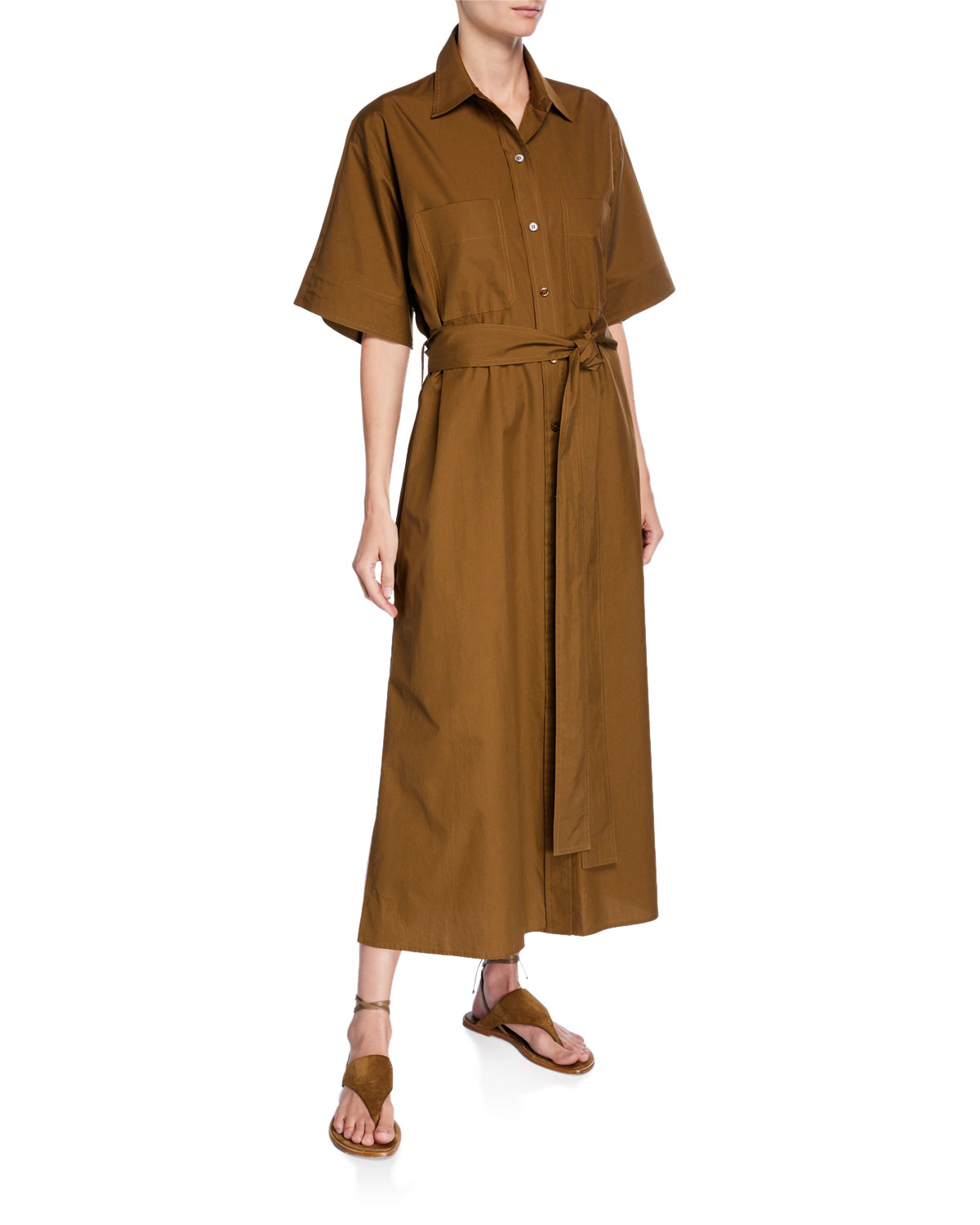 6e2b55bb11b Vince Belted Maxi Utility Shirtdress