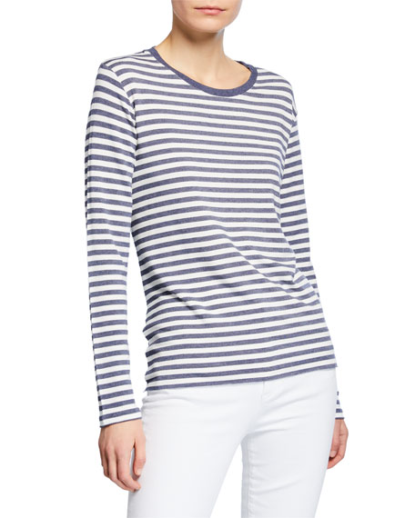 Majestic Paris for Neiman Marcus Striped Crewneck Long-Sleeve French-Terry Sweatshirt