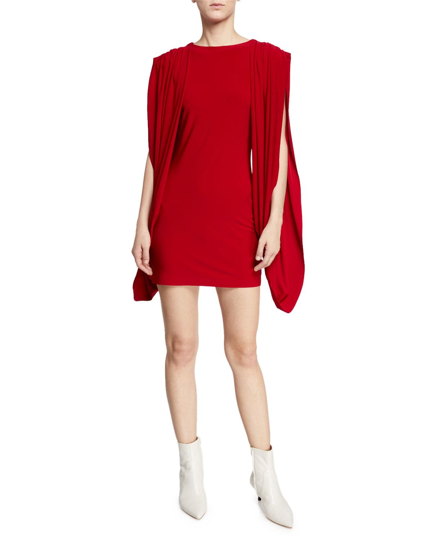 2318ee2f4f6 Norma Kamali High-Neck Double-Draped Split-Sleeve Mini Dress ...