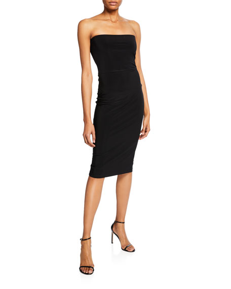 Norma Kamali Strapless Knee-Length Fitted Dress