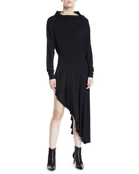 Norma Kamali All-in-One Long-Sleeve Stretch Jersey Asymmetrical Dress
