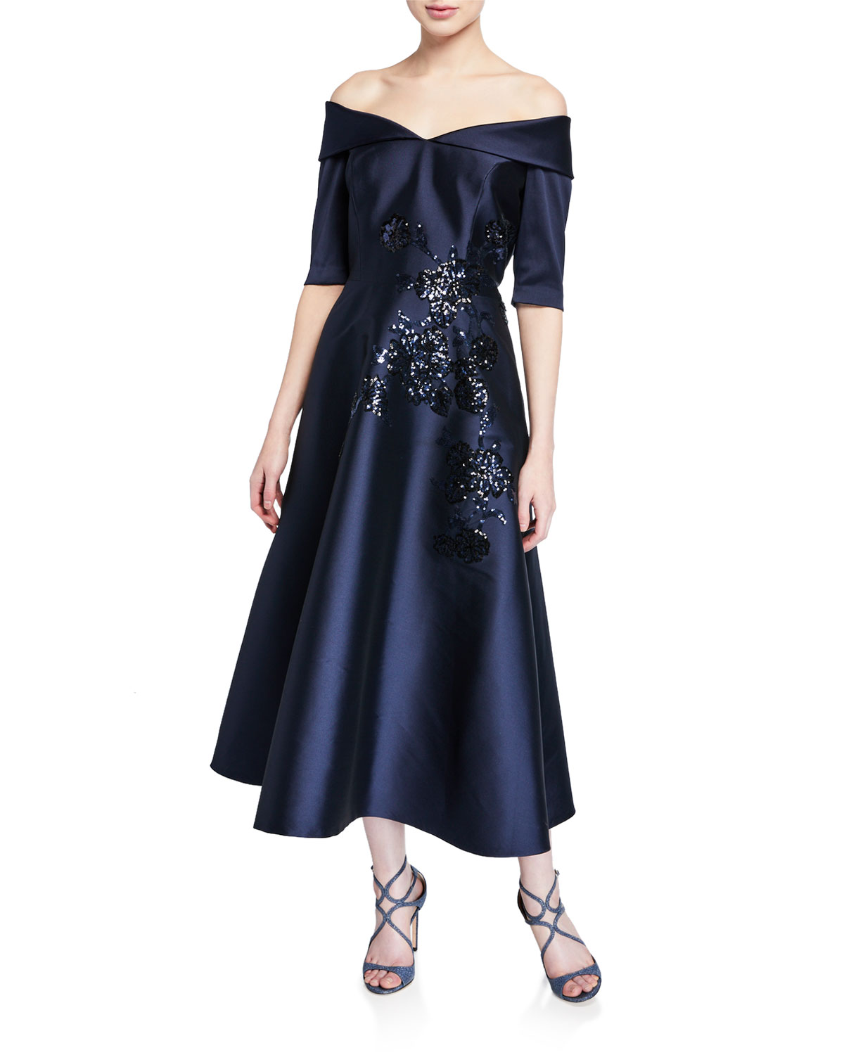 Rickie Freeman for Teri Jon Off-the-Shoulder Elbow-Sleeve Mikado Dress w/ Sequin Detail