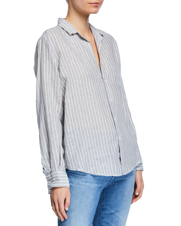 9a0f9dd28 Frank & Eileen Striped Button-Down Long-Sleeve Linen Blouse w/ Patch Pocket