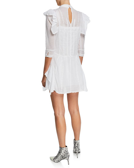 Image 2 of 2: Etoile Isabel Marant Alba Embroidered Ruffle 3/4-Sleeve Short Dress