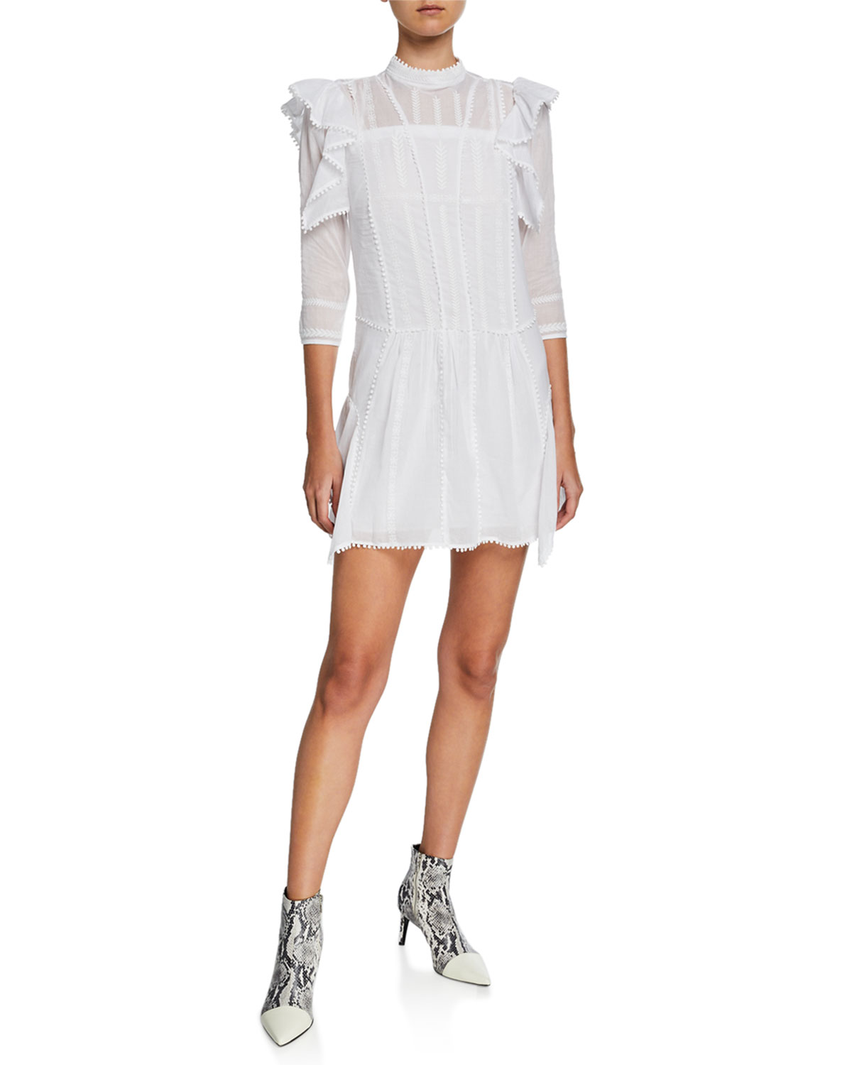 Etoile Isabel Marant Alba Embroidered Ruffle 3/4-Sleeve Short Dress