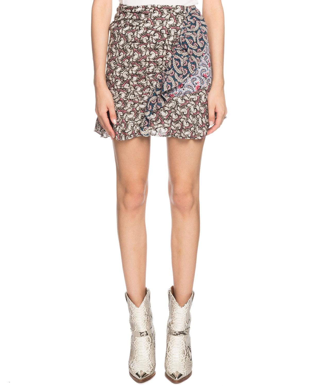 Etoile Isabel Marant Loz Printed Ruffle Short Skirt  062b75a6f58