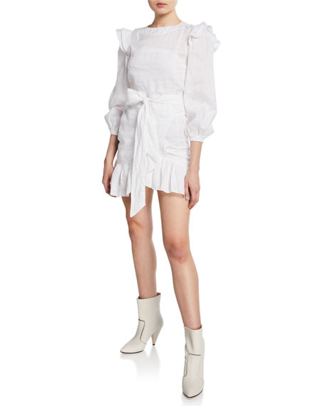 Etoile Isabel Marant Telicia Ruffle-Accent Linen Mini Dress