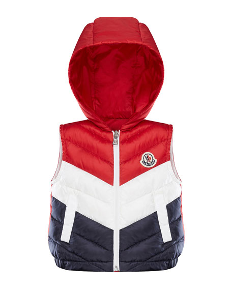Moncler TRICOLOR CHEVRON QUILTED HOODED VEST