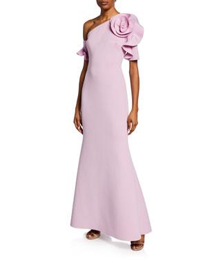 0779f847a0890 Badgley Mischka Collection One-Shoulder Short-Sleeve Mermaid Scuba Gown w/  Flower Detail