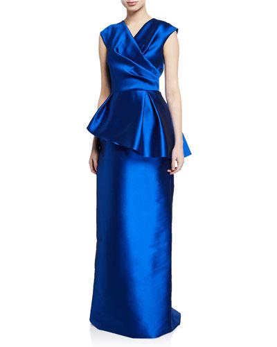 V-Neck Cap-Sleeve Mikado Asymmetric Peplum Gown