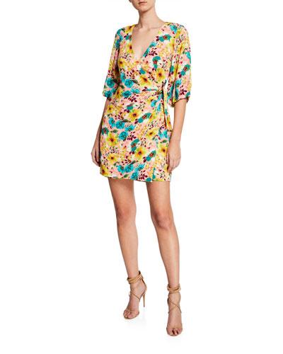 Floral-Print 3/4-Sleeve Wrap Cocktail Dress